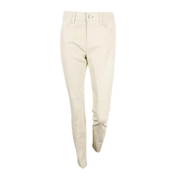 Lauren Ralph Lauren Women's Leather Skinny Jeans - modern cream