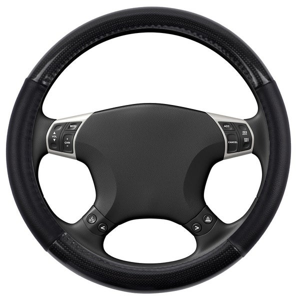 KM World Black 14.5-15 Inch PU Leather and Carbon Design Steering Wheel Cover With Precise Hand Placements, Fits Ford Mustang