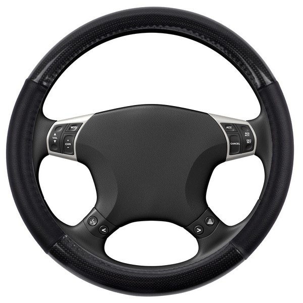 KM World Black 14.5-15 Inch PU Leather and Carbon Design Steering Wheel Cover With Precise Hand Placements, Fits Nissan Altima