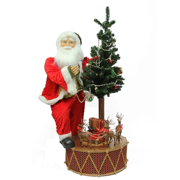 """40"""" Santa with Musical Rotating Drum and Lighted Alpine Tree Christmas Figure - RED"""