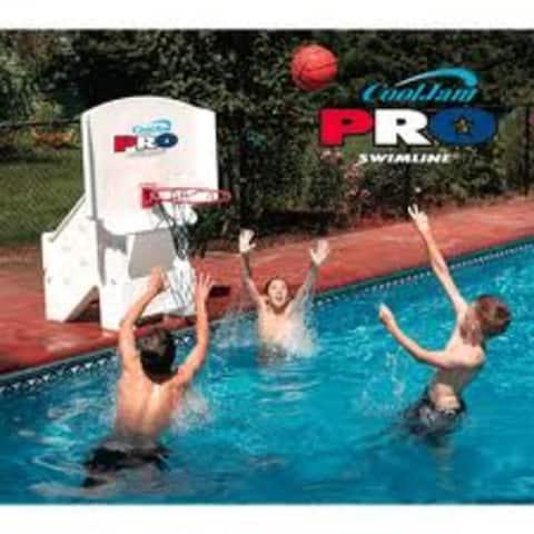 "44"" Orange and White Cool Jam Pro Adjustable Poolside Extra Wide Basketball Hoop"