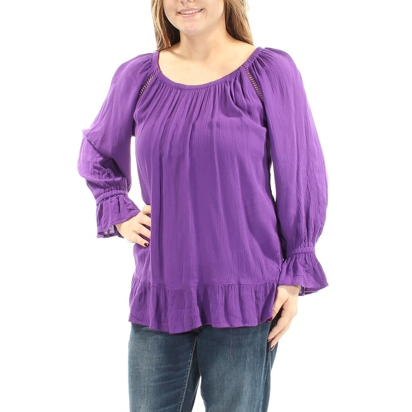 d55fb36eb1400a Shop INC Womens Purple Bell Sleeve Jewel Neck Peasant Top Size: M - On Sale  - Free Shipping On Orders Over $45 - Overstock - 22644518