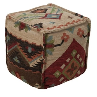 "18"" Burgundy and Beige Southwestern Floral Wool Square Pouf Ottoman"