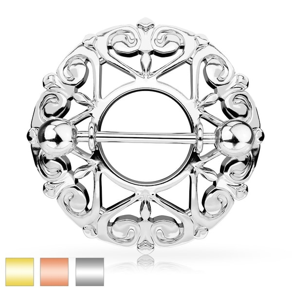 Heart Filigree Round Nipple Shield with Surgical Steel Barbell - 14GA (Sold Ind.)