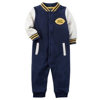 Carter's Baby Boys' Fleece Varsity Jumpsuit, 9 Months - blue football