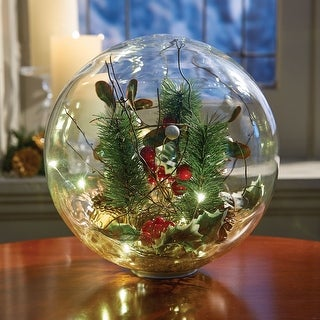 Art & Artifact LED Lighted Glass Holiday Orb - Hand-Blown Glass Globe Seasonal Decor - Battery Operated