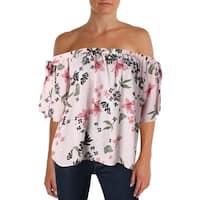 Aqua Womens Casual Top Floral Off the Shoulder