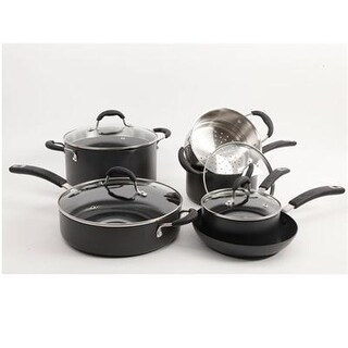 Gibson 109451.10 Brawley Non-Stick Aluminum Cookware Set Charcoal 10Pc