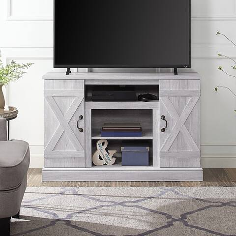 BELLEZE Rustic Wood TV Stand Living Room Storage, Sargent Oak - standard