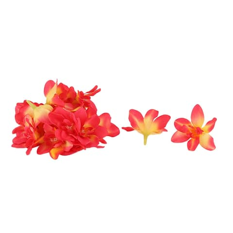 Wedding Party Fabric Artificial Orchid Flower Head DIY Decor Petals Craft 20pcs - Red