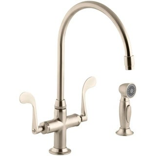 Kohler K 8763 Double Handle Single Hole Kitchen Faucet With Metal Lever  Handles And Sidespray