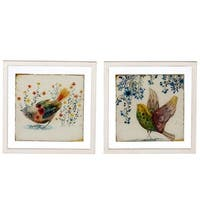"""Set of 2 Off White and Yellow Assorted Floating Framed Bird Wall Decor 12"""""""