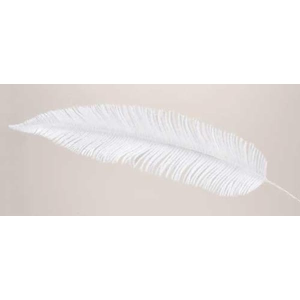 "29"" Joy to the World White Faux Feather Decorative Christmas Pick"