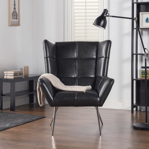 Silver Orchid Bella Modern Tufted Wingback Armchair