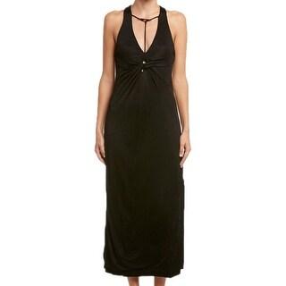 Free People NEW Black Womens Size XS Twist-Front Racerback Maxi Dress
