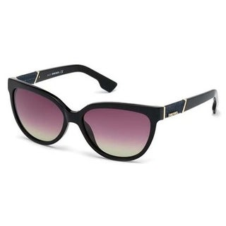 Diesel Eyewear DL0102 Shiny Black Frame Gradient Brown HD Lens Sunglasses