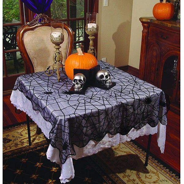 Spider Webs Lace Table Runner-Rounded - Black