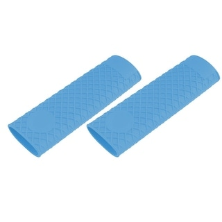 Household Kitchen Silicone Heat Resistant Pot Stockpot Handle Cover Blue 2pcs