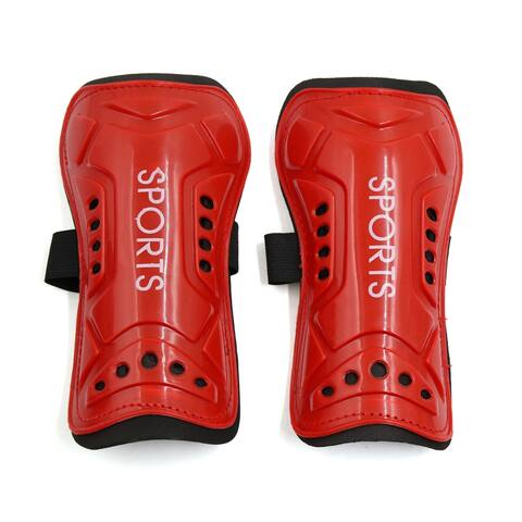Unique Bargains 2 Pcs Kids Football Shin Pads Soccer Guards Leg Protector Protective Gear Red