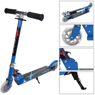 Goplus Blue Folding Aluminum 2 Wheel Kids Kick Scooter Adjustable Height LED Light Up