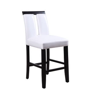 "41"" X 19"" X 24"" Wood and Upholstered (Seat) Counter Height Chair (Set-2), White PU & Black"