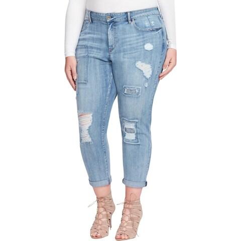 Jessica Simpson Womens Plus Mika Best Friend Jeans Destroyed Colorblock