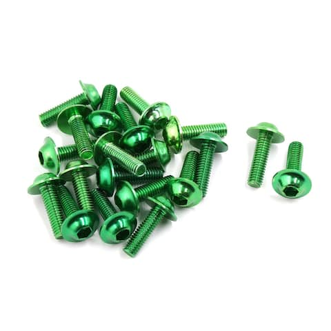 Unique Bargains 20 Pcs Green Aluminum Alloy Motorcycle Fairing Hexagonal Bolts Screws 6mm Thread