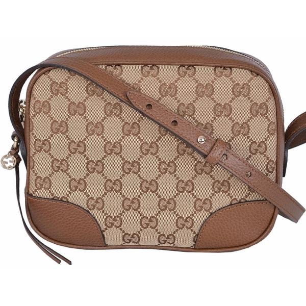 6f8622343df9 Gucci 449413 Beige Canvas Leather GG Guccissima Bree Crossbody Purse Bag -  beige|brown -