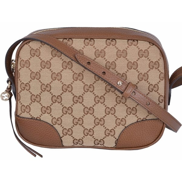 71a393ff7 Gucci 449413 Beige Canvas Leather GG Guccissima Bree Crossbody Purse Bag -  beige|brown - 8.5