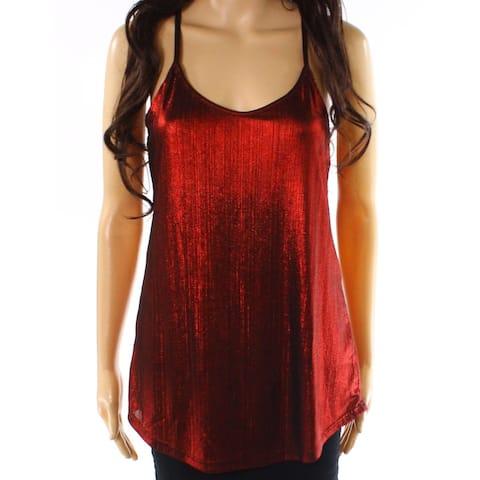 Angie Women's Red Size Medium M Shimmer Crinkled V-Neck Tank Cami Top