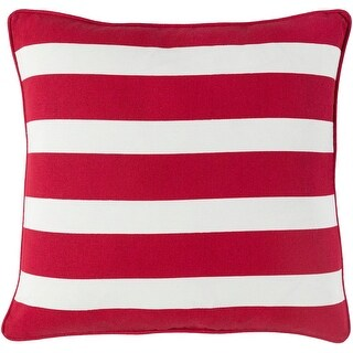 """18"""" Red and White Striped Woven Decorative Piping Square Throw Pillow"""