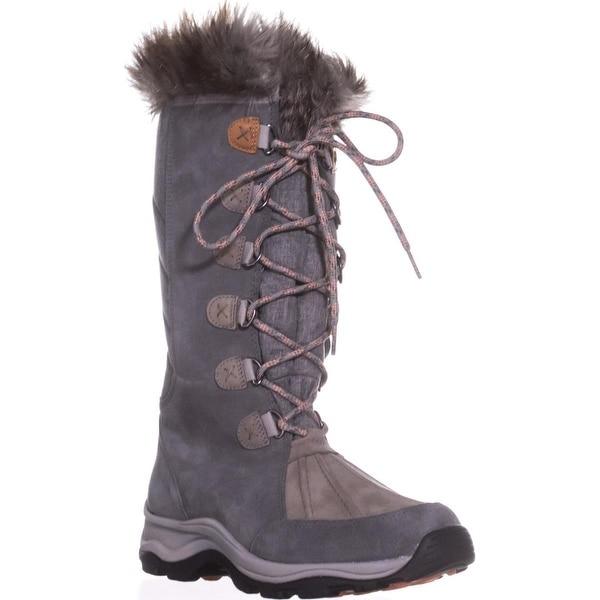 Clarks Wintry Hi Waterproof FLeece Lined Lace Up Winter Boots, Grey - 9.5 us / 41 eu