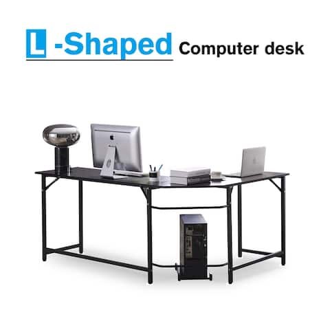 Corner Computer Desk Small L-Shape Study Table for Home Office Black