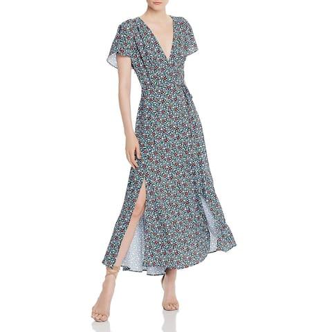 French Connection Womens Eden Frances Maxi Dress Faux Wrap Floral Print - Blue/White