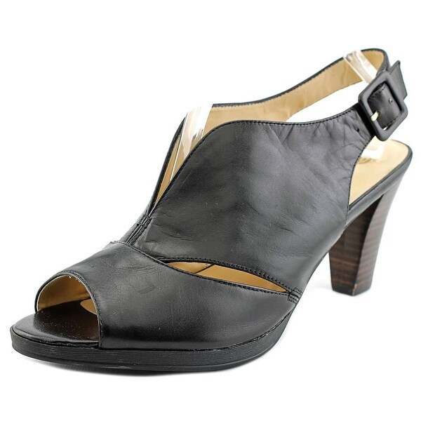 Bella Vita Leona Women WW Open-Toe Leather Black Slingback Sandal