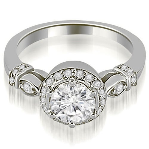 0.95 cttw. 14K White Gold Antique Round Cut Diamond Engagement Ring