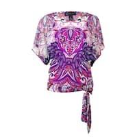INC International Concepts Women's Tie-Hem Mesh Top - feather paisley - xs