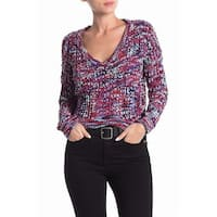 Poof York Purple Womens Size Large L V-Neck Spacedye Sweater