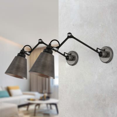 """Set of 2 Modern Plug-in Free Swing Arm Wall Lamp Adjustable Brushed Silver Sconces - Brushed Antique Silver - L 28""""xW 6""""xH 8"""""""