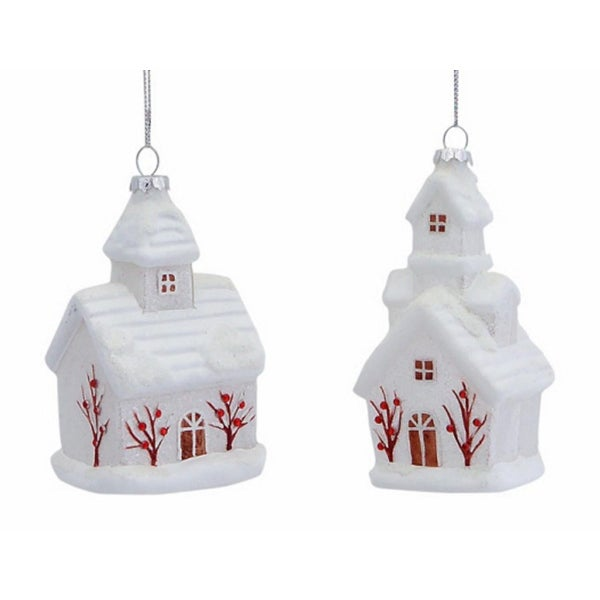 """Club Pack of 12 Traditional Little White Church Glass Christmas Ornaments 5"""""""