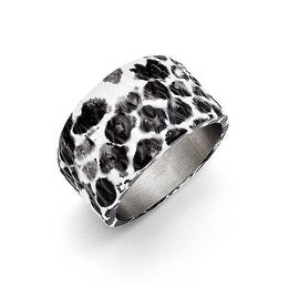 Chisel Stainless Steel Polished Black and White Textured Ring (12 mm)