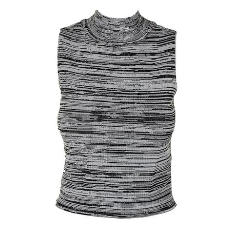 Guess Black White Sleeveless Kaya Space-Dye Crop Sweater M