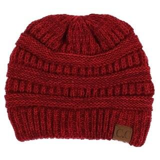 Gravity Threads CC Two Tone Chunky Soft Marled Knit Soft Beanie, Burgundy