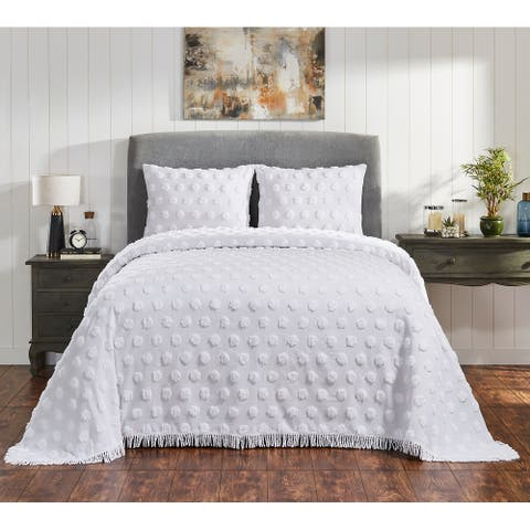 Fabstyles Tufted Venice Chenille Cotton 3 Piece Bedspread Quilt Set