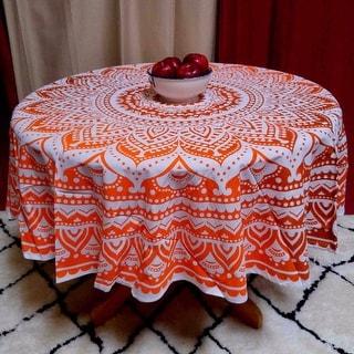 Handmade 100% Cotton Tie Dye Floral Tablecloth 69 Inch Round Orange Brown