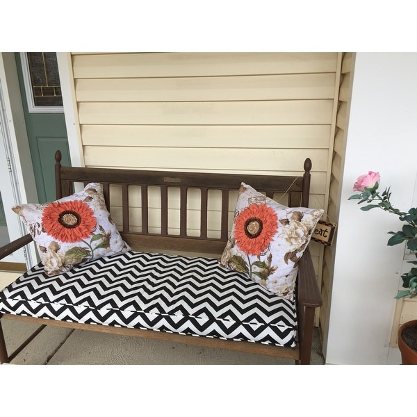 Black Chevron 48 Inch Indoor Outdoor Corded Bench Cushion Free Shipping Today 8577772