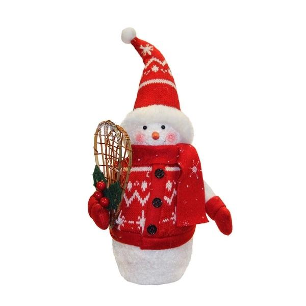 """10"""" Alpine Chic Red and White Sparkling Snowman with Snowshoes Christmas Decoration"""