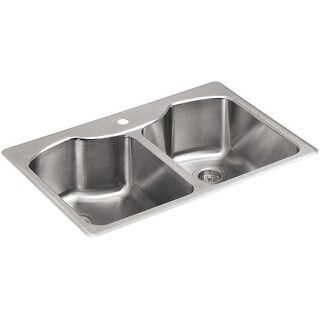 "Kohler K-3842-1  Octave 33"" Double Basin Top-Mount 18-Gauge Stainless Steel Kitchen Sink with SilentShield - Stainless Steel"