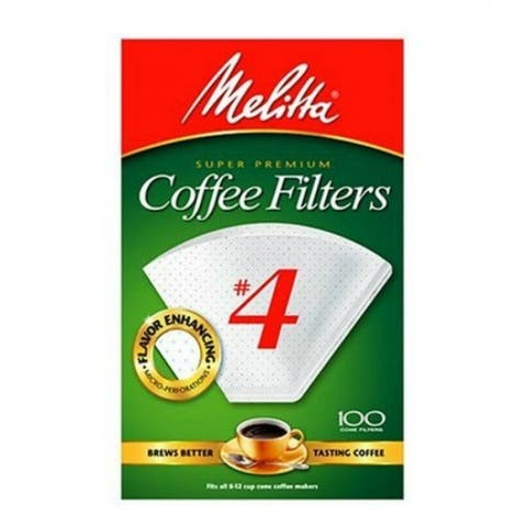 Melitta 624102 Super Premium Cone Coffee Filters, White, #4, 100-Pack