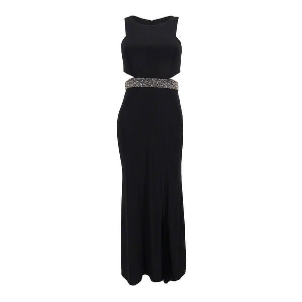 8b5f0142 Shop Xscape Women's Petite Illusion Cutout Embellished Gown - Black - Free  Shipping Today - - 19757188